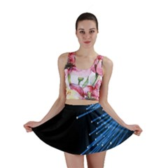 Abstract Light Rays Stripes Lines Black Blue Mini Skirt