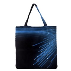 Abstract Light Rays Stripes Lines Black Blue Grocery Tote Bag