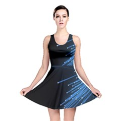 Abstract Light Rays Stripes Lines Black Blue Reversible Skater Dress