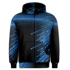 Abstract Light Rays Stripes Lines Black Blue Men s Zipper Hoodie