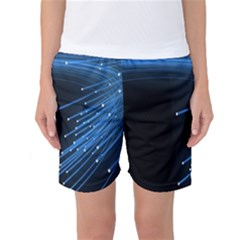 Abstract Light Rays Stripes Lines Black Blue Women s Basketball Shorts