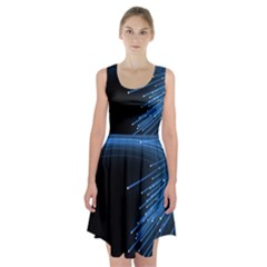 Abstract Light Rays Stripes Lines Black Blue Racerback Midi Dress