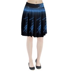 Abstract Light Rays Stripes Lines Black Blue Pleated Skirt