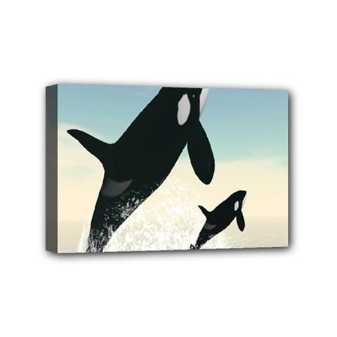 Whale Mum Baby Jump Mini Canvas 6  x 4