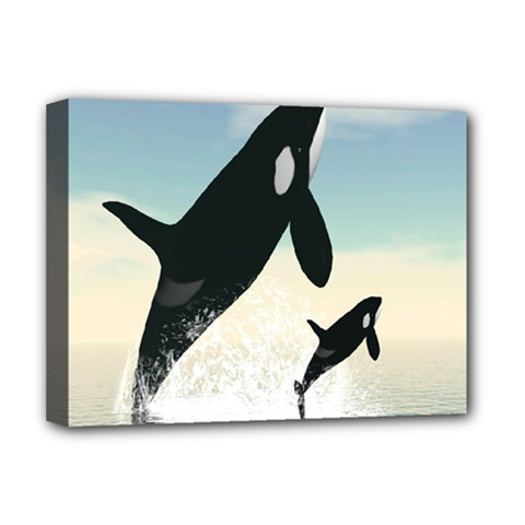 Whale Mum Baby Jump Deluxe Canvas 16  x 12