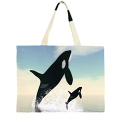 Whale Mum Baby Jump Large Tote Bag