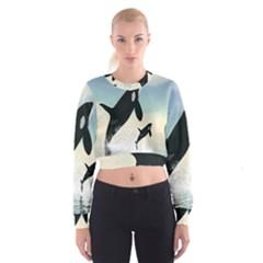 Whale Mum Baby Jump Women s Cropped Sweatshirt