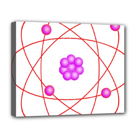 Atom Physical Chemistry Line Red Purple Space Deluxe Canvas 20  x 16
