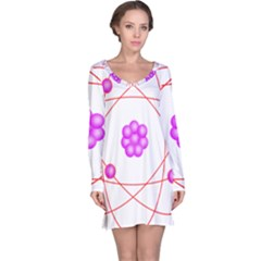 Atom Physical Chemistry Line Red Purple Space Long Sleeve Nightdress
