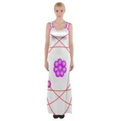 Atom Physical Chemistry Line Red Purple Space Maxi Thigh Split Dress