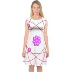 Atom Physical Chemistry Line Red Purple Space Capsleeve Midi Dress