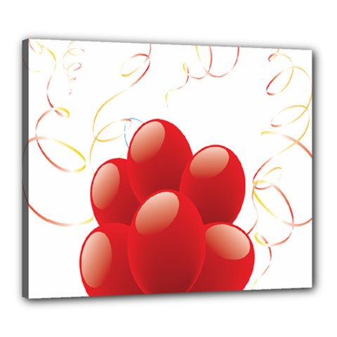 Balloon Partty Red Canvas 24  X 20