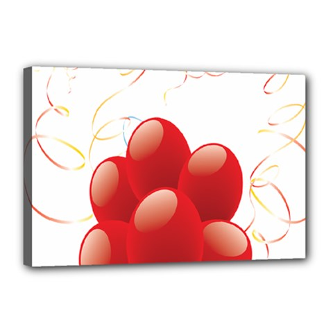 Balloon Partty Red Canvas 18  x 12