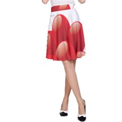 Balloon Partty Red A-Line Skirt
