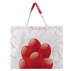 Balloon Partty Red Zipper Large Tote Bag