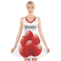 Balloon Partty Red V Neck Sleeveless Skater Dress
