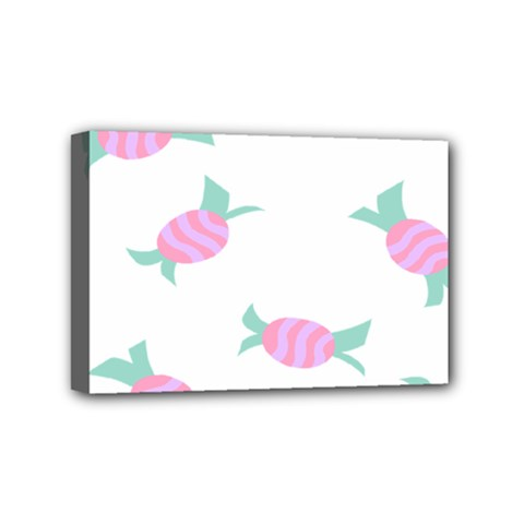 Candy Pink Blue Sweet Mini Canvas 6  x 4