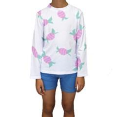 Candy Pink Blue Sweet Kids  Long Sleeve Swimwear