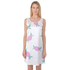 Candy Pink Blue Sweet Sleeveless Satin Nightdress