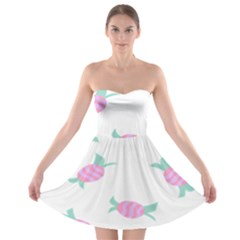 Candy Pink Blue Sweet Strapless Bra Top Dress