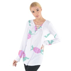 Candy Pink Blue Sweet Women s Tie Up Tee