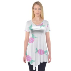 Candy Pink Blue Sweet Short Sleeve Tunic