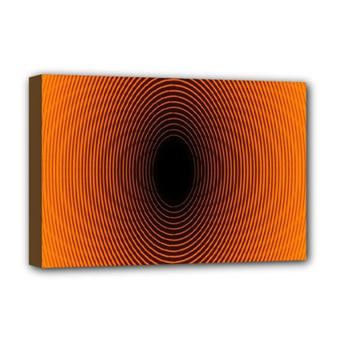 Abstract Circle Hole Black Orange Line Deluxe Canvas 18  x 12