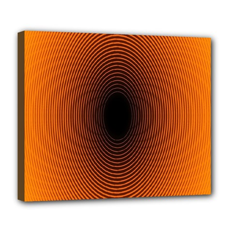 Abstract Circle Hole Black Orange Line Deluxe Canvas 24  x 20