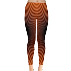 Abstract Circle Hole Black Orange Line Leggings