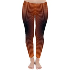 Abstract Circle Hole Black Orange Line Classic Winter Leggings