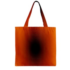 Abstract Circle Hole Black Orange Line Zipper Grocery Tote Bag