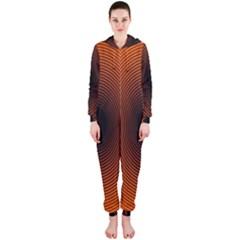 Abstract Circle Hole Black Orange Line Hooded Jumpsuit (Ladies)