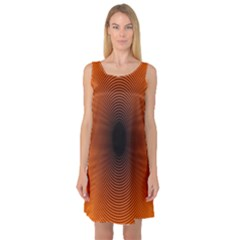 Abstract Circle Hole Black Orange Line Sleeveless Satin Nightdress
