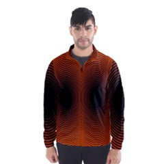 Abstract Circle Hole Black Orange Line Wind Breaker (men)