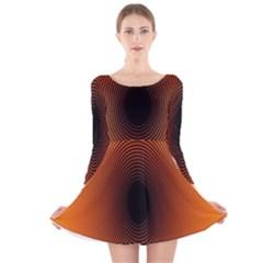 Abstract Circle Hole Black Orange Line Long Sleeve Velvet Skater Dress