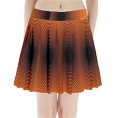 Abstract Circle Hole Black Orange Line Pleated Mini Skirt