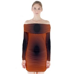 Abstract Circle Hole Black Orange Line Long Sleeve Off Shoulder Dress