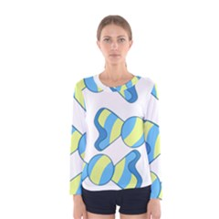 Candy Yellow Blue Women s Long Sleeve Tee