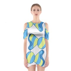 Candy Yellow Blue Shoulder Cutout One Piece
