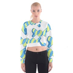 Candy Yellow Blue Women s Cropped Sweatshirt