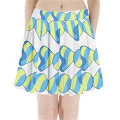 Candy Yellow Blue Pleated Mini Skirt