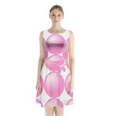 Circle Pink Sleeveless Chiffon Waist Tie Dress