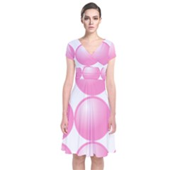 Circle Pink Short Sleeve Front Wrap Dress