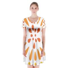 Circle Orange Short Sleeve V Neck Flare Dress
