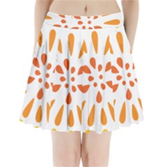 Circle Orange Pleated Mini Skirt