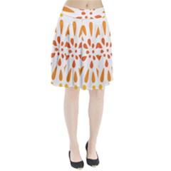 Circle Orange Pleated Skirt