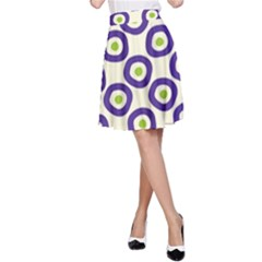 Circle Purple Green White A-Line Skirt