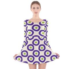 Circle Purple Green White Long Sleeve Velvet Skater Dress