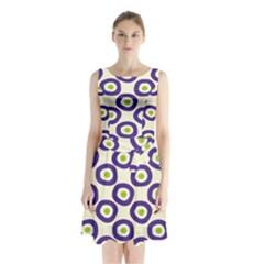 Circle Purple Green White Sleeveless Chiffon Waist Tie Dress