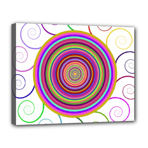 Abstract Spiral Circle Rainbow Color Canvas 14  X 11